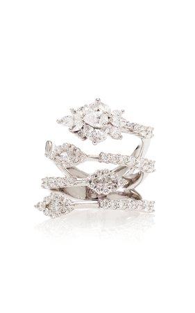 Yeprem Four-Tier Wrap 18K White And Diamond Ring