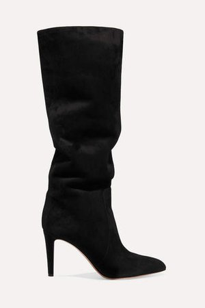 85 Suede Knee Boots - Black