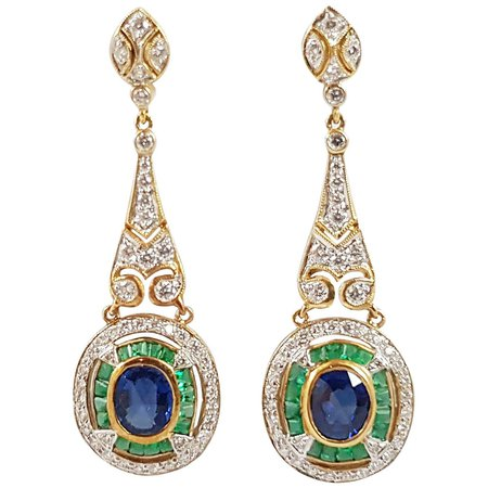 Blue Sapphire with Emerald and Diamond Earrings