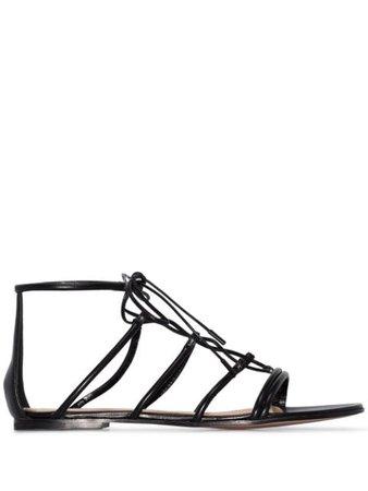 Gianvito Rossi leather gladiator sandals black G6143305CUONAP - Farfetch