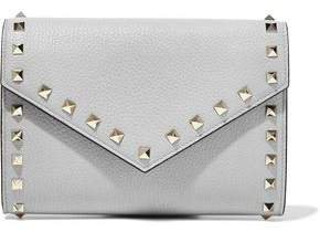 Rockstud Pebbled-leather Clutch