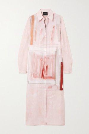 Belted Printed Silk-crepe Midi Shirt Dress - Pink