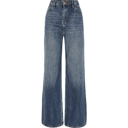 Blue high rise loose leg Dad jeans | River Island