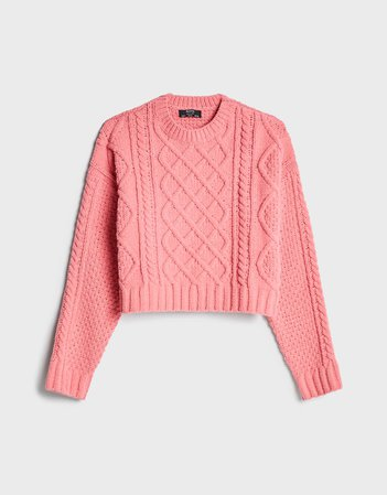 Cable-knit chenille sweater - Sweaters and cardigans - Woman | Bershka