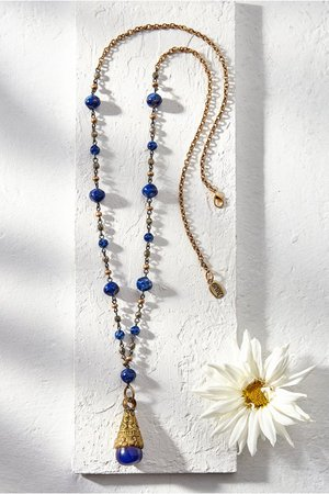 Indigo Necklace - Vintage Gold And Blue Bead Necklace | Soft Surroundings