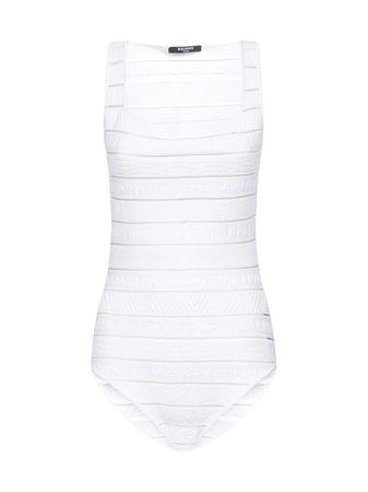 Balmain Logo Stripe Strap Bodysuit Top