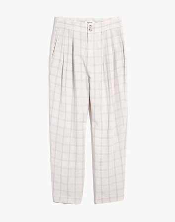 Pleated Taper Wide-Leg Pants in Windowpane white