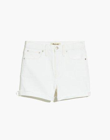 High-Rise Denim Shorts in Tile White