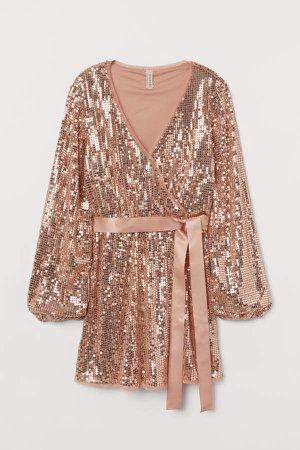 V-neck Sequined Dress - Pink