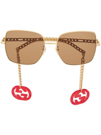 Gucci Eyewear square-frame chain-arms Sunglasses - Farfetch