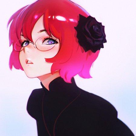 #short hair, #redhead, #purple eyes, #Ilya Kuvshinov, #anime, #anime girls, #glasses | Wallpaper No. 452001 - wallhaven.cc