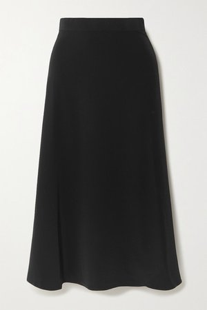 Crepe Midi Skirt - Black