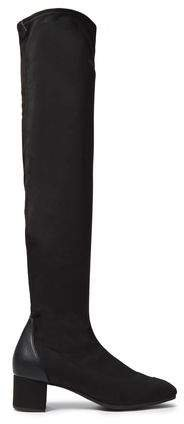 Quad 40 Leather-trimmed Faux Stretch-suede Over-the-knee Boots
