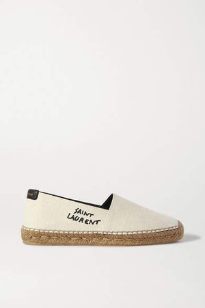 Logo-embroidered Canvas Espadrilles - White