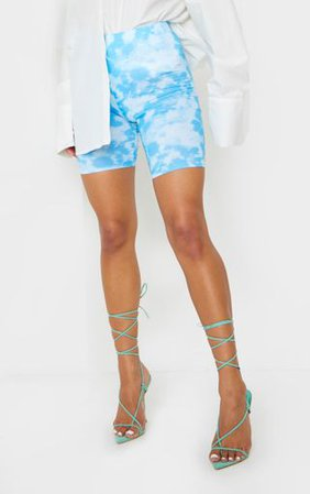 Basic Blue Tye Die Cycle Shorts | Shorts | PrettyLittleThing