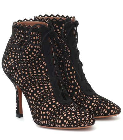 Suede Ankle Boots - Alaïa   Mytheresa