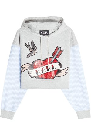 Karl Sails Cropped Hoodie with Striped Shirt Sleeves Gr. S