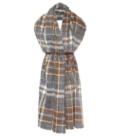 Plaid alpaca and wool scarf