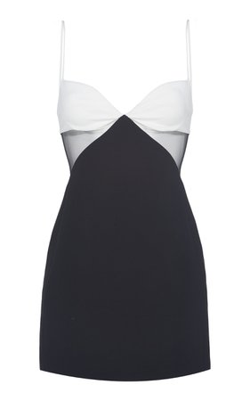 David Koma Two-Toned Tulle-Trim Mini Dress