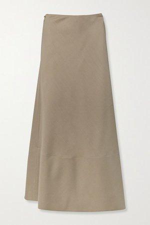 Ava Mohair And Wool-blend Wrap Maxi Skirt - Light brown