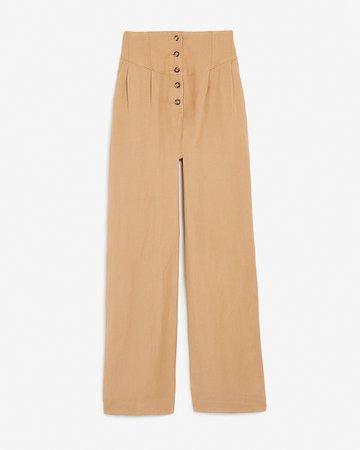 Super High Waisted Linen-blend Button Fly Wide Leg Pant | Express