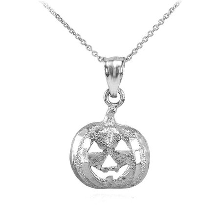 Pumpkin Head Charm Pendant Necklace in 9ct White Gold | Gold Boutique