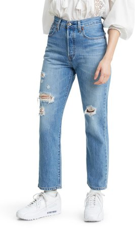 501(R) Ripped High Waist Crop Straight Leg Jeans