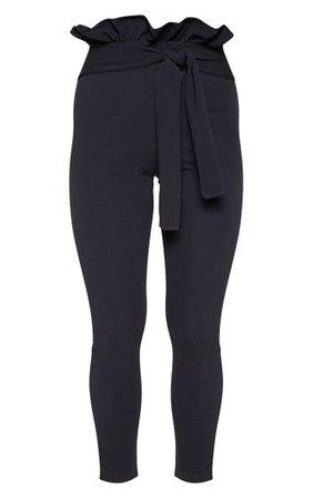 Perlita Black Paperbag Skinny Trousers | PrettyLittleThing