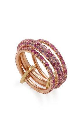 Nova Rose Set-Of-Three 18K Rose Gold Sapphire Rings by Spinelli Kilcollin | Moda Operandi