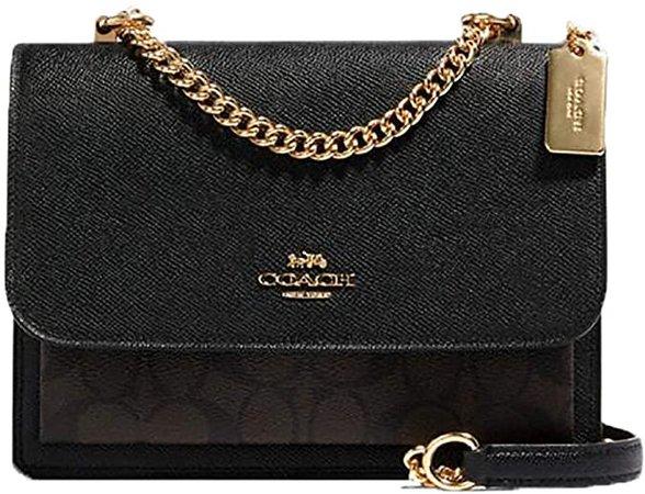 Coach Women's Klare Crossbody Shoulder Handbag in Crossgrain Leather & Signature Coated Canvas (Brown/Black/Gold): Handbags: Amazon.com