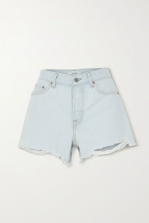 Light denim Helena distressed denim shorts | GRLFRND | NET-A-PORTER