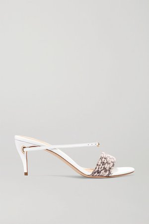 Andrea 65 Elaphe And Leather Sandals - Snake print
