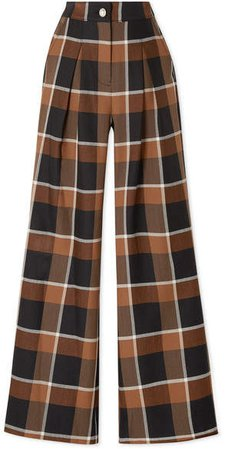 Checked Wool-blend Wide-leg Pants - Light brown