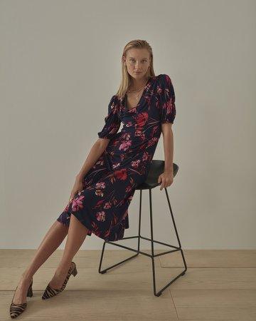 Ruched Puff-Sleeve Midi Dress