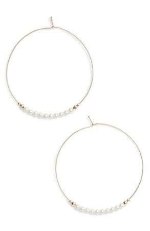 Mizuki Pearl Hoop Earrings | Nordstrom