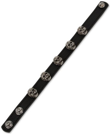 Betsey Johnson Leather Skull Snap Bracelet & Reviews - Bracelets - Jewelry & Watches - Macy's