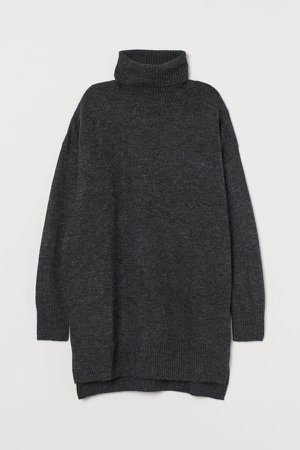Knit Turtleneck Sweater - Black
