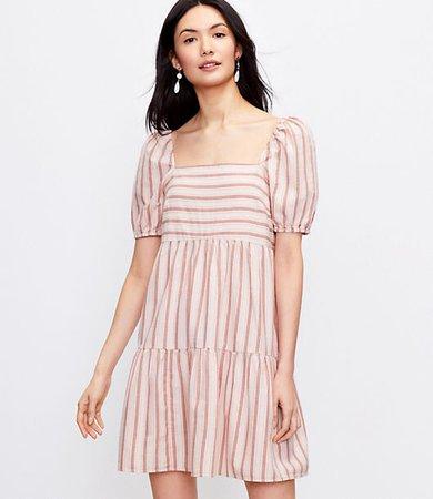 Petite Striped Square Neck Puff Sleeve Dress