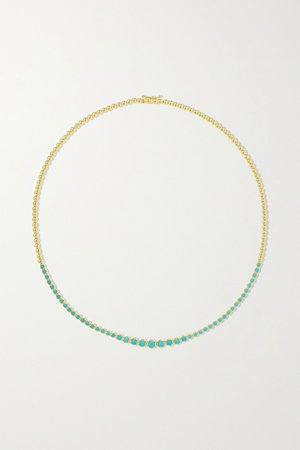 Gold 18-karat gold turquoise necklace | Jennifer Meyer | NET-A-PORTER
