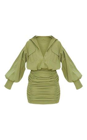Olive Balloon Sleeve Pocket Ruched Shirt Dress | PrettyLittleThing USA