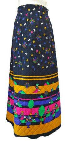 Vintage 60s Long Quilted Skirt Vali Boutique Designs Black w Bright Design M Med | eBay