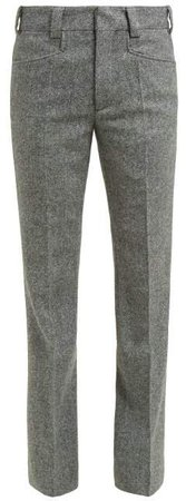 Kick Flare Herringbone Wool Cropped Trousers - Womens - Light Grey
