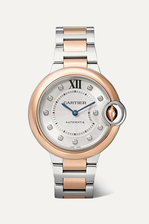 Cartier | Ballon Bleu de Cartier 33mm 18-karat pink gold, stainless steel and diamond watch | NET-A-PORTER.COM