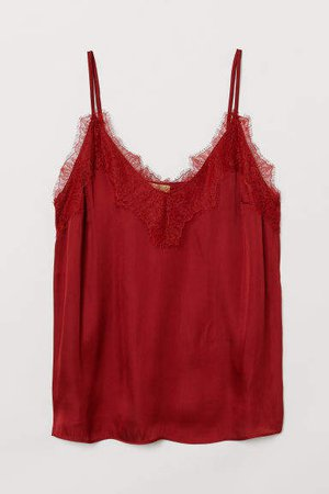 Satin and Lace Camisole Top - Red