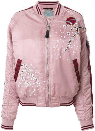 Alpha Industries blossom detail bomber jacket