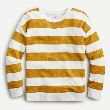 J.Crew: Relaxed-fit Pullover In Rugby Striped Vintage Cotton Terry For Women yellow