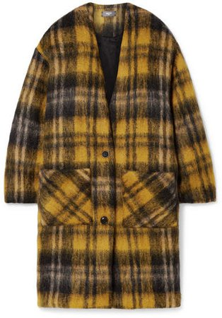 Oversized Checked Mohair-blend Coat - Yellow