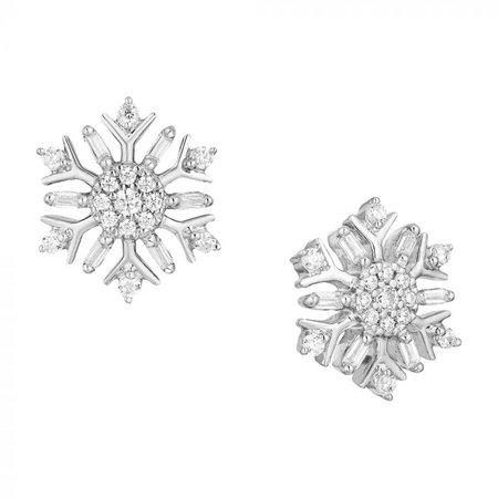 Disney Enchanted Elsa Silver Diamond Snowflake Earrings EAR-SIL-1372 Enchanted Disney Elsa Silver Diamond Snowflake Earrings