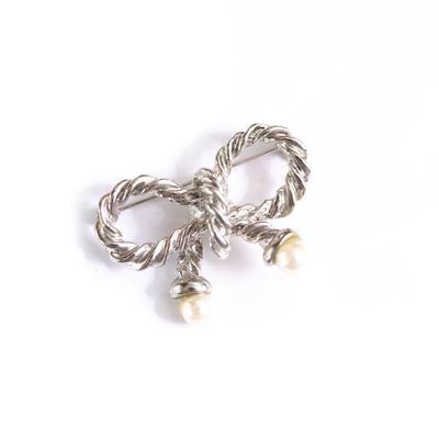 Vintage Silver Bow With Pearls Brooch - Vintage Meet Modern