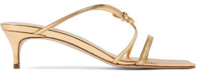 BY FAR - January Bow-detailed Metallic Leather Sandals - Gold